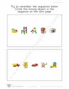 """In the """"5 Object Sequential Memory"""" worksheets, the student identify which object is missing in the sequence. Learning For Life, Visual Learning, Try To Remember, Worksheets, Student, Memories, Math, Mathematics, Math Resources"""