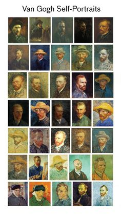 Vincent van Gogh Self-portraits. I have read that van Gogh wanted to paint other portraits but lacked subjects and/or funds Artist Van Gogh, Van Gogh Art, Art Van, Vincent Van Gogh, Van Gogh Pinturas, Van Gogh Self Portrait, Van Gogh Paintings, Acrylic Paintings, Post Impressionism