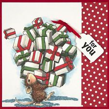 """HOUSE MOUSE """"GIFTS GALORE"""" CLING RUBBER STAMP!*"""