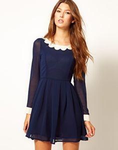 scalloped collar dress