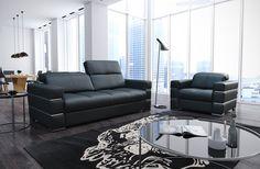 #exclusive #sofa #furniture Ekskluzywny zestaw wypoczynkowy #Elegance ze skóry naturlanej - sofa 210 cm i fotel 110 cm