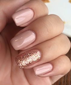 Fails Design Gel French Pink Glitter Concepts For 2019 - Nails Blush Nails, Pink Gel Nails, Rose Gold Nails, Shellac Nails, Nail Manicure, Neutral Wedding Nails, Wedding Day Nails, Nail Rose, Cute Nails