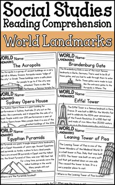 : Are you looking to integrate social studies into your reading curriculum? This resource includes 14 reading passages focused on famous world landmarks. Each passages includes questions that going along with the information in the reading. Teaching Social Studies, Social Studies Worksheets, 4th Grade Social Studies, Social Studies Classroom, Social Studies Activities, Social Studies Notebook, Teaching Geography, Teaching History, History Education