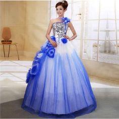 ウェディングドレス ブルー きらきら シングル肩 プリンセスドレス ロングパーティードレス二次会カラードレス 花嫁司会演出舞台撮影着 CC65