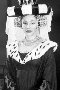 """Jane White as Queen Aggravain in the 1959 Broadway production of """"Once Upon a Mattress."""" The first African-American actress to portray a white character on Broadway, Ms. White originated this role in the Tony-nominated musical comedy and starred opposite Carol Burnett, who was making her Broadway debut in the role of Princess Winnifred.   Photo via The New York Times and Photofest."""