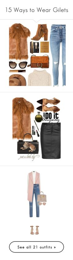 """""""15 Ways to Wear Gilets"""" by polyvore-editorial ❤ liked on Polyvore featuring waystowear, gilets, STELLA McCARTNEY, Prada, Jessica Simpson, Tom Ford, Becca, Dogeared, Eugenia Kim and Bobbi Brown Cosmetics"""