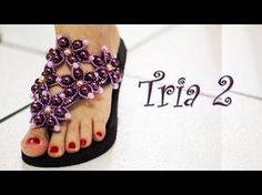 Chinelo decorado: Manta de flores de pérolas e cristais - YouTube