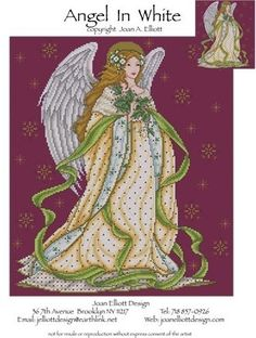 Joan Elliott Angel in White - Cross Stitch Pattern. Stitched on 28 count Burgundy evenweave using DMC floss, Kreinik #4 Braid (002HL), Mill Hill beads (03003, 0