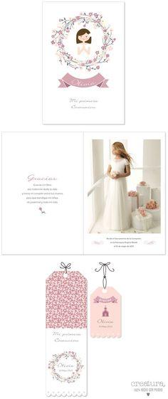 Recordatorio de comunión niña en color rosa con guirnalda de flores