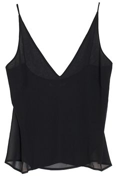 Exude nonchalant allure in this opaquely sheer camisole, featuring a deep-v neck with double layer front.