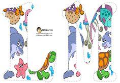 Alfabeto relleno con animales marinos.   Oh my Alfabetos! Alfabeto Animal, Alphabet And Numbers, Under The Sea, Scrapbook, Comics, Pets, Crafts, Animals, Fictional Characters