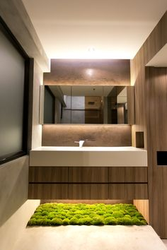 Sheung Wan Loft in Sheung Wan, Hong Kong by Liquid Interiors - bathroom design… Small Bathroom Mirrors, Modern Bathroom Sink, Bathroom Mirror Lights, Brown Bathroom, Modern Bathroom Design, Bathroom Interior Design, Spanish Bathroom, Master Bathrooms, Modern Design