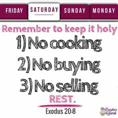 Always remember NO cooking, NO buying and NO selling on the HOLY BIBLICAL sabbath. Sabbath is from Friday sundown to saterday sundown. Keep the commandments of AHAYAH the God of the Hebrew Israelites of the Bible #HebrewIsraelites spreading TRUTH #ISRAELisBLACK ... Praise the MOST High AHAYAH ASHAR AHAYAH (I AM THAT I AM, exodus 3:13-15) and His Holy Son YASHAYA (Savior) CHRIST ... GatheringofChrist.org #GOCC on YouTube