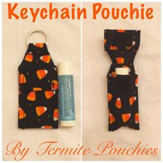 Halloween Print Keychain Pouchie for Chapstick by TermitePouchies