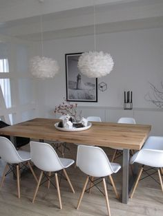 White and wood dining room | Vita Eos lamp available at www.istome.co.uk Dining Room Design, Scandinavian, Dining Chairs, Dining Table, Tips, Eames Chairs, Table And Chairs, Dining Rooms, Lounges