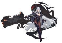 Anime Original  Guerreiro Garota Long Hair White Hair Gun Weapon Ficção Científica Thigh Highs Headband Red Eyes Blush Boots Papel de Parede