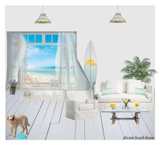 """""""Dream Beach House"""" by helena99 ❤ liked on Polyvore featuring interior, interiors, interior design, home, home decor, interior decorating, Nearly Natural, Brewster Home Fashions, Pottery Barn and LSA International"""