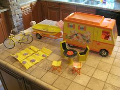 Vintage 1970 Barbie Country  - I gave my camper away years ago...Now, I wish I still had it.  I spent days on end playing with it.  Loved the pull-out tent, the little kitchen inside, etc.  What fun!