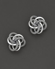 "Lagos Sterling Silver Knot ""Caviar"" Earrings 