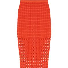 T by Alexander Wang - Laser-cut Stretch-jersey Skirt ($98) ❤ liked on Polyvore featuring skirts, bright orange, stretch jersey, orange a line skirt, a-line skirts, laser cut skirt and orange skirt