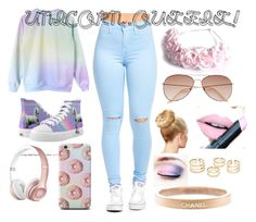 """""""UNICORN OUTFIT"""" by pandalover64786 ❤ liked on Polyvore featuring Zipz, LOTTA, H&M, Fiebiger and Chanel"""