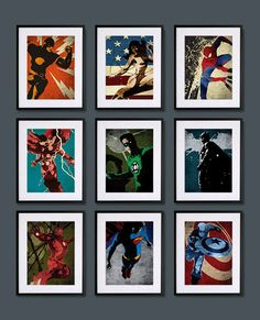 Vintage Super Hero Posters - boy's room idea