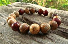 Picasso & Picture Jasper Gemstones Beaded Bracelet by cainersbliss