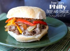 Poor Mans Philly Beef and Cheese Sandwich (making this for dinner-will post how we like it.)  Cindy~