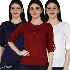 Tops & Tunics Women's Rayon Combo Tops Fabric: Rayon Sleeve Length: Three-Quarter Sleeves Pattern: Solid Multipack: 3 Sizes: S (Bust Size: 36 in Length Size: 26 in)  XL (Bust Size: 42 in Length Size: 26 in)  L (Bust Size: 40 in Length Size: 26 in)  M (Bust Size: 38 in Length Size: 26 in)  XXL (Bust Size: 44 in Length Size: 26 in) Country of Origin: India Sizes Available: S, M, L, XL, XXL   Catalog Rating: ★4.1 (11681)  Catalog Name: Women's Rayon Combo Tops CatalogID_1016457 C79-SC1020 Code: 014-6390836-2301