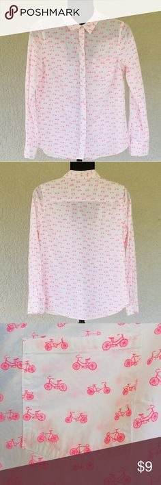 Bicycle print button down shirt Cotton. Good condition. Hot pink bicycle print on white. Merona Tops Button Down Shirts