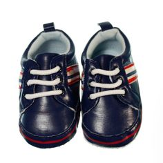 Smart pre-walker sneaker for boys. Navy blue coloured shoe with white, navy and white stripes on the side. Baby blue coloured lining. White lace up sneakers for boys keeping their feet in. Sneakers have a non-slip sole to provide grip to surfaces if the little one stands or takes a couple of steps. Shoes are made of material and a soft sole making the shoes lightweight and easy to wear.  Price: $19.95  http://www.bubbaboosh.com.au/boys-shoes/Heydon