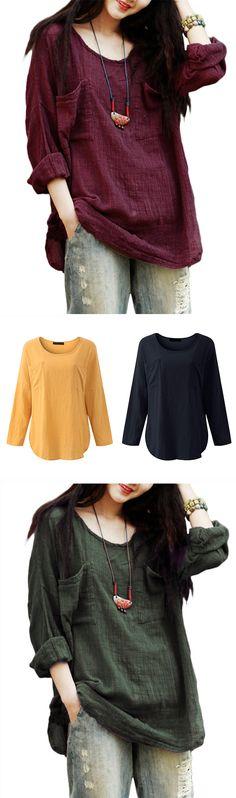 US$ 13.97 Gracila Vintage Pure Color Long Sleeve Pockets Loose Women Shirts