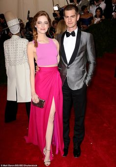 Lots of love still there: Emma said last year she 'loved' her ex, while Andrew chose Emma as the one person he'd like to be marooned on a desert island with that same year. Pictured at the Met Gala in New York in 2014