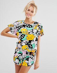 Imagen 1 de Conjunto de camiseta y pantalón corto de pijama de los Looney Toons de ASOS