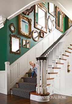 Decorating with antique mirrors This gallery wall arrangement of mismatched mirrors makes a pretty statement along a stairwell wall. We especially love the way the gilded gold pops against the emerald wall. This look is exciting but still works well with Diy Gallery Wall, Decor, Mirror Gallery Wall, Traditional House, Mirror Wall, Wall Gallery, Home Decor, Mirror Gallery, Traditional Decor
