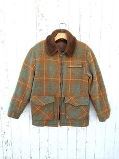 70s Wool Plaid Jacket Woolrich Furry Collar Lining Sz S M Orange Green Brown Zip Front Unisex Winter Coat Retro Hipster  by HuntedFinds on Etsy