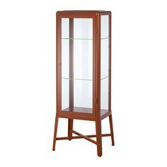 IKEA - FABRIKÖR, Glass-door cabinet, brown, , With a glass-door cabinet, you can show off as well as protect your glassware or your favorite collection.You can easily change the height according to your storage needs as the shelves are adjustable.You can easily complement your glass-door cabinet with integrated lighting because it comes prepared for cable management.