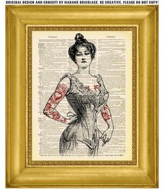 Tattooed Woman in Corset Pin Up Girl  by MadameBricolagePrint, $10.00