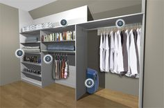 Aluminium fitted sliding wardrobe for sloping ceiling with hidden storage