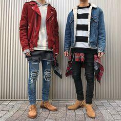 ▫️ Left : @r.t._boy . ▪️ Jacket : #Amiri ▪️ Hoodie : Amiri ▪️ Inner : Amiri ▪️ Pants : Amiri ▪️ Boots : Amiri . ▫️ Right : @qiezey . ▪️ Jacket : Old Clothes ▪️ Sweat : Amiri ▪️ Shirts : Amiri ▪️ Pants : Amiri ▪️ Boots : #SaintLaurent ▪️ Accessory : #CodySanderson