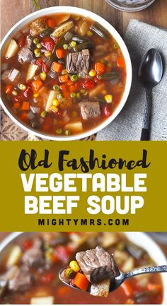 Old Fashioned Vegetable Beef Soup Easy Homemade Soups, Homemade Vegetable Beef Soup, Vegetable Soup Recipes, Recipes For Vegetable Beef Soup, Beef Soup Recipes, Healthy Soup Recipes, Cooking Recipes, Beef Soups, Kitchen Recipes