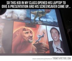 Ideas Funny Screen Savers Humor Laughing For 2019 Nickolas Cage, Funny Screen Savers, Funny Pins, Funny Stuff, Funny Humor, Funny Shit, Random Stuff, Bad Person, Look At You