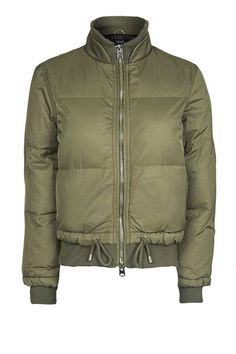 Stay on-trend while keeping warm in this puffer jacket in khaki, featuring linear quilting, gold trims and a rib hem and collar. Wear with a cosy jumper and ripped jeans for a cool and casual look. #Topshop