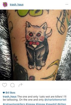Horror Saw Kitten Jigsaw tattoo