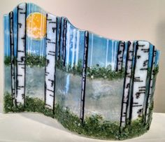 Summer Bliss Fused Glass Wave Scene