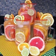 Detox Water: 10 Homemade Detox Water Recipes For Fast Weight Loss Fruit Infused Water, Fruit Water, Citrus Water, Water Recipes, Detox Recipes, Festive Cocktails, Homemade Detox, Sugar Detox, Organic Coconut Oil