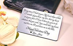Valentines Day Wallet Card - Personalized Engraved Gift