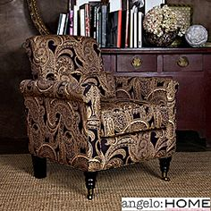@Overstock - The angelo:HOME Harlow accent chair, designed by Angelo Surmelis, combines modern lines with traditional details. The Harlow chair has a slightly rounded arm and is covered in a rich paisley fabric in shades of ebony black and light cream.http://www.overstock.com/Home-Garden/angelo-HOME-Harlow-Black-Paisley-Accent-Arm-Chair/5666784/product.html?CID=214117 $308.99