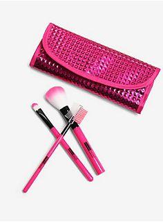 Pink just makes everything better // Metallic Pink Makeup Brush Set Nyx Brushes, Eyeshadow Brushes, Makeup Eyeshadow, Eyeliner, Lip Wallpaper, Makeup Brush Set, Eyebrow Brush, Makeup Must Haves, Natural Beauty Tips