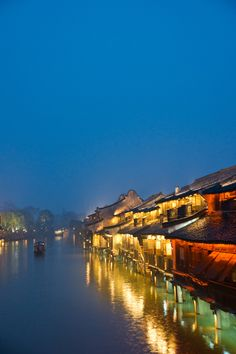 Wuzhen at night, Tongxiang, Zhejiang, China